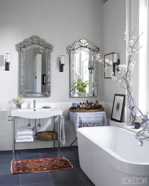 Upgrade Your Mirrors - Swap out telltale frameless, rectangular builder-grade mirrors with more interesting shapes, like these antique Italian versions in a Soho loft  - ELLEDecor.com (=)