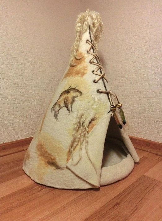 Luxury cat house wigwam. Cat Nap Cocoon. Cat by FeltSilkArtGift