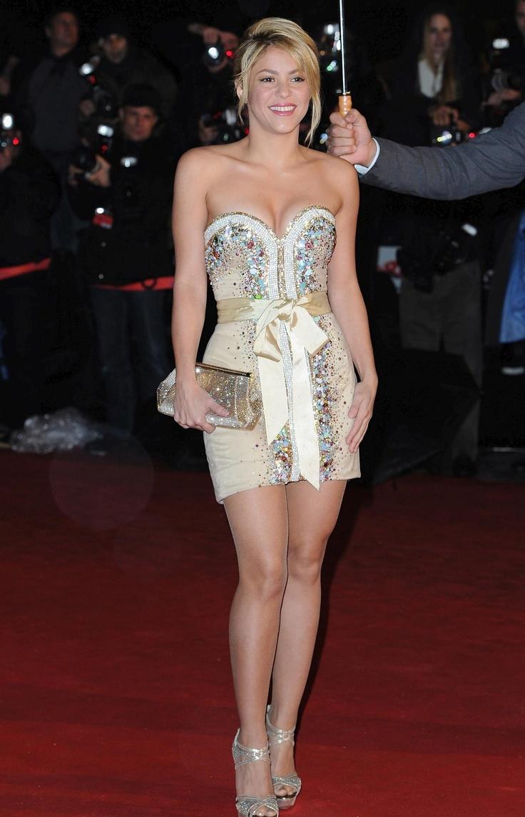 Shakira black and white mini dress.