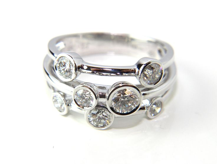 Three Row Diamond Ring in 18ct White Gold 1.08ct from Campbell Jewellers