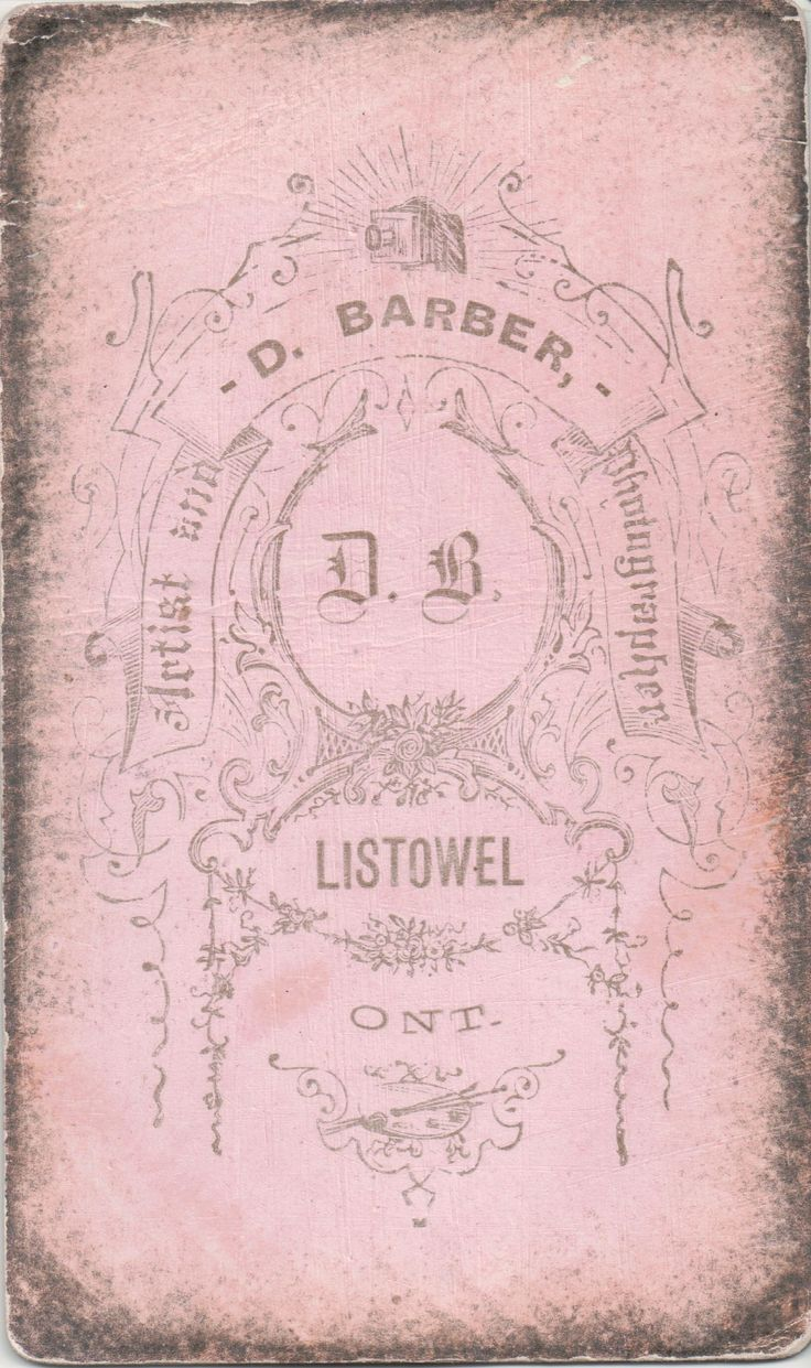 Mourning CDV 02a: This image was taken by D. Barber, Artist and Photographeer, of Listowel, Ontario, Canada. The colored back of the card places the image near the end of the 19th century.