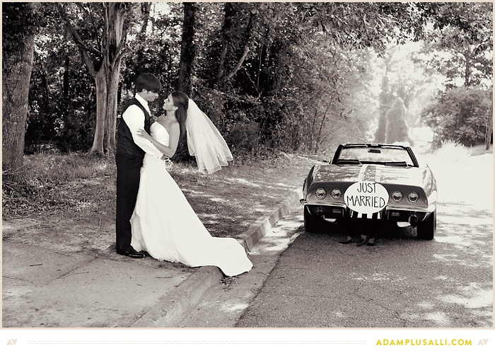 Adding a cool car to wedding photos is always fun