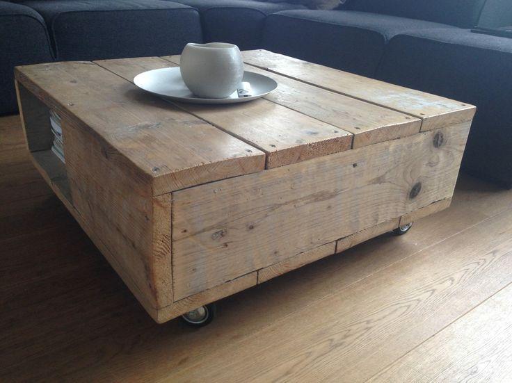 Salontafel met opbergruimte 80x80 op wielen wood made for Rvs ladenblok op wielen