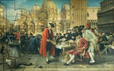 Painter Francesco Guardi, Canaletto's rival, selling his pictures by Giuseppe Bertini (1825-1898)