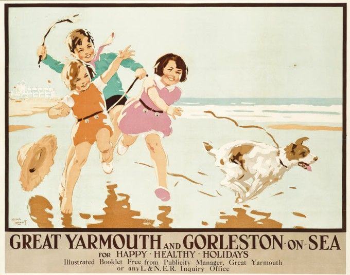 ALFRED LAMBART (1902-1970) GREAT YARMOUTH AND GORLESTON-ON-SEA lithograph in colours, c.1937, printed by Bemrose & Sons, Ltd., Derby, condit...