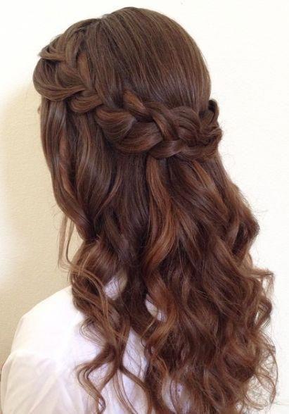 Vintage Half Up Half Down Wedding Hairstyle Braid, For Long Hair, Medium Length #Wedding Hairstyles