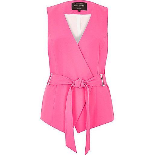 Bright pink belted vest - sleeveless jackets - coats / jackets - women