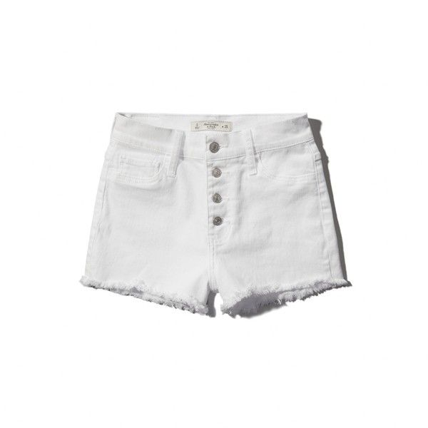 Abercrombie & Fitch High Rise Short ($41) ❤ liked on Polyvore featuring shorts, bottoms, white, abercrombie & fitch shorts, cotton shorts, white shorts, short shorts and highwaist shorts