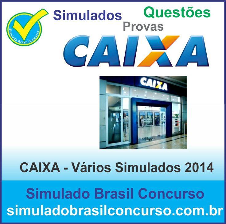 Concurso da Caixa 2014, estamos com novos simulados e questões conforme o edital. Aproveitem!!!  http://simuladobrasilconcurso.com.br/simulados/concursos/?filtro_concurso=4  Descubra!!! Compartilhe!!! Curta!!!  Muito Obrigada e Bons Estudos, Simulado Brasil Concurso  #SimuladoBrasilConcurso, #SimuladoCaixa
