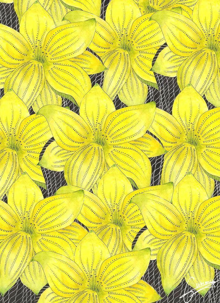 BY ME. Ugne Gumenikovaite. #yellow #flowers #illustration #gummy # draw #watercolors #handmade #graphic #design #nature #flowering