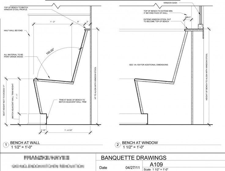 Banquette seating design cotter christian ltd co for Plan banquette cuisine