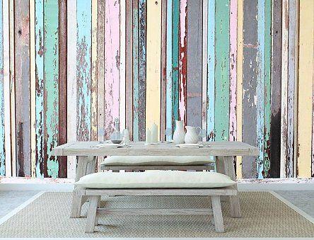 Mooi zelfklevend fotobehang met gekleurd oud hout