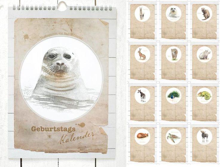 Geburtstagskalender+Tiere+von+Tartuffoli+-+Papeterie+auf+DaWanda.com