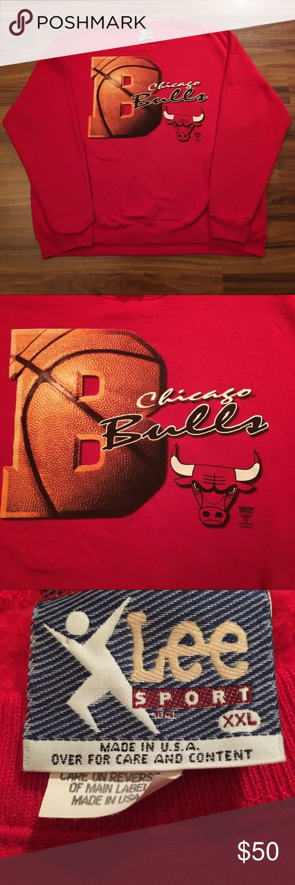 Vintage Chicago Bulls NBA Sweater - Men's XXL Preowned: Vintage & Rare Lee Sports Chicago Bulls NBA Sweater - Men's XXL  • Condition - 9/10! This vintage Lee Sport Chicago Bulls Sweater is in great condition especially considering it's age. No rips, holes or stains • Brand - Lee Sports • Size - Men's XXL • Color - Red • Team - Chicago Bulls  • Association - NBA • Origin - Made in USA Lee Sports Sweaters