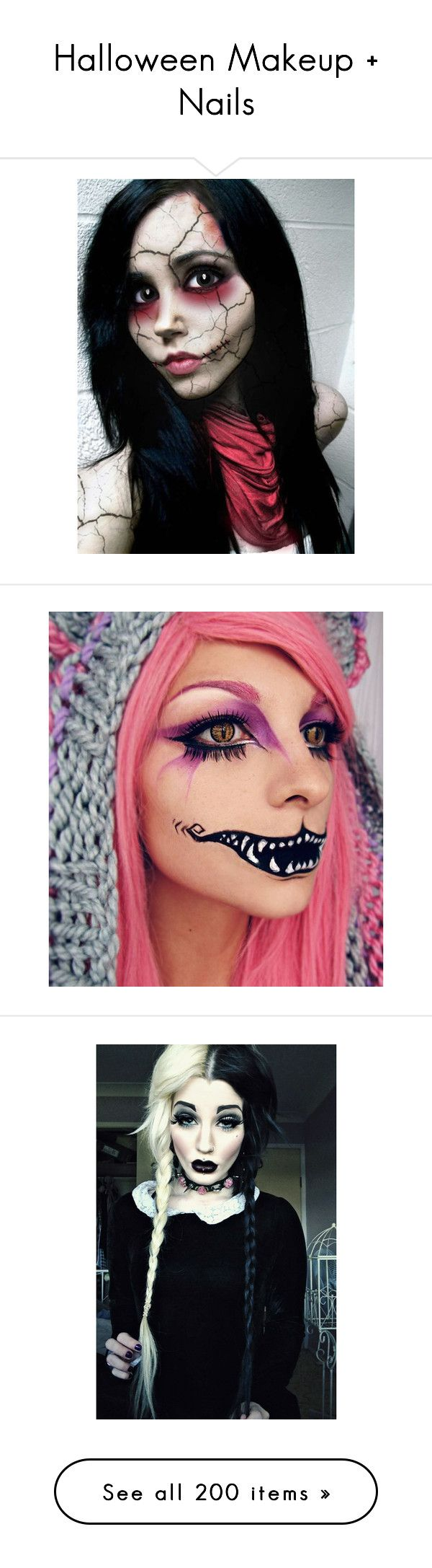 """Halloween Makeup + Nails"" by once-upon-a-dream123 ❤ liked on Polyvore featuring Halloween, pretty, scary, Costume, home, home decor, holiday decorations, halloween home decor, beauty products e makeup"