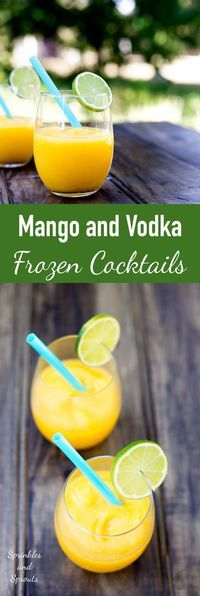 Juicy mango, a hint of lime and a shot of vodka. Simple, cooling and delicious go into these Mango and Vodka Frozen Cocktails.....also known as Slush puppies or Slurpees for adults :-)