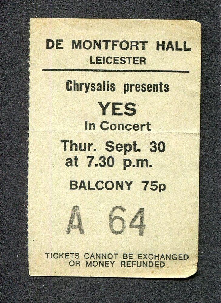 1971 Yes  Concert Ticket Stub De Montfort Hall Leicester UK Fragile  | eBay