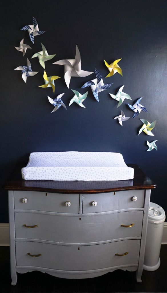 DIY Pinwheel wall in the nursery - such a whimsical touch to this baby boy nursery!