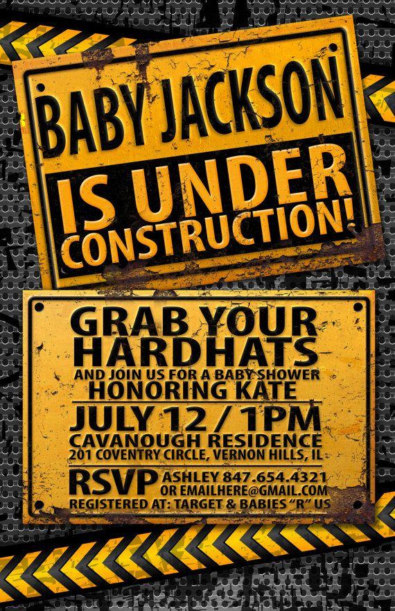 Under Construction Baby Shower invitation by LyonsPrints on Etsy