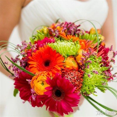 Bright Colorful Bridal Bouquet  bright gerbera daisies, proteas, ranunculus, fuji mums, lily grass and galax