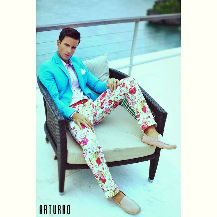 ARTURRO Men's Collection-Blue Jacket, Pink Linen Shirt & Red Flowery Printed Pants, #jacket #shirt #linenshirt #printedpants #resort #smartcasual
