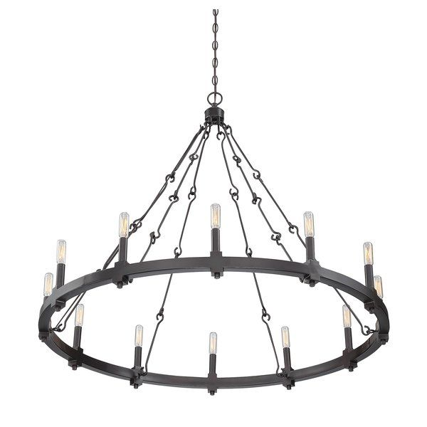 This collection is a fresh take on traditional European style with a circular chandelier structure, understated chains and a rich English bronze finish.