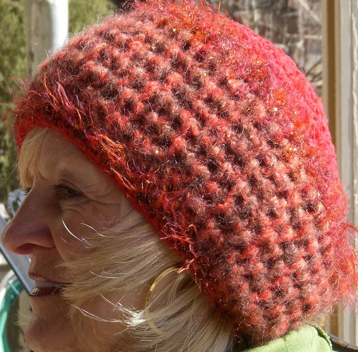 Slouchy Beanie Hat, Slouchy Red Winter Hat, Women's Fashions, Ski Accessories, Red Crochet Hat by hatsbyanne1942 on Etsy