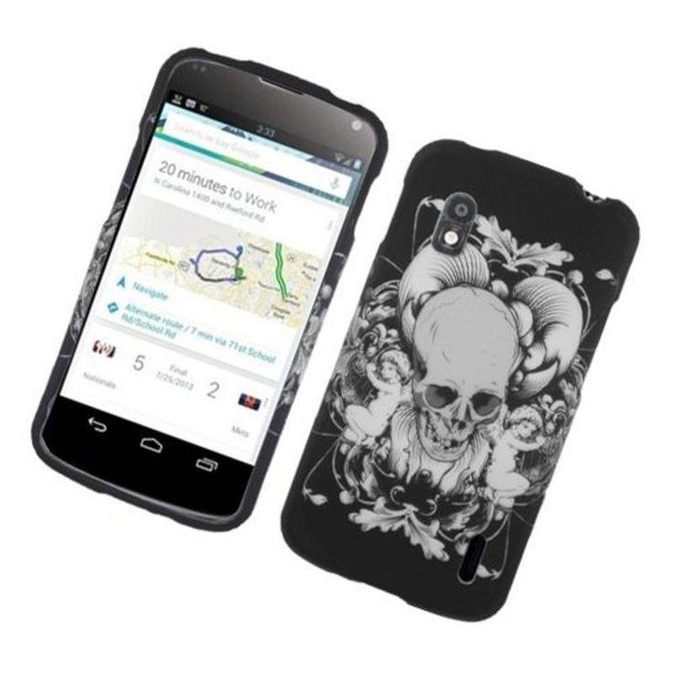 Insten / White Skull Hard Snap-on Rubberized Matte Case Cover For LG Google Nexus 4 #2317689
