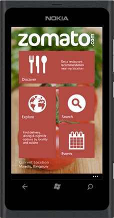 Zomato app for windows mobile #UX #UI #Mobile