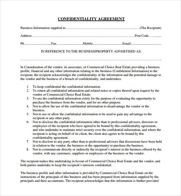 Confidentiality Agreement Template Word] Non Disclosure Agreement ...