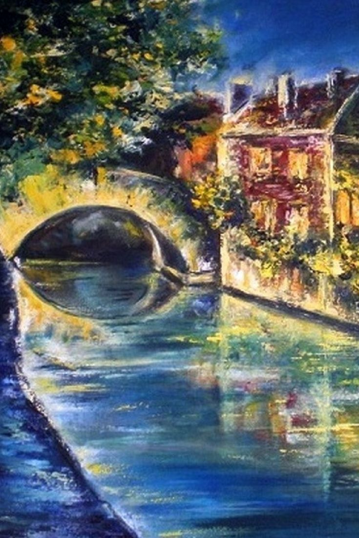 Evening Brugge Cityscape Oil Painting By Eletart Original Oil Paintings On Canvas For Sale Here Https Www Ets Painting Landscape Paintings Canvas Painting