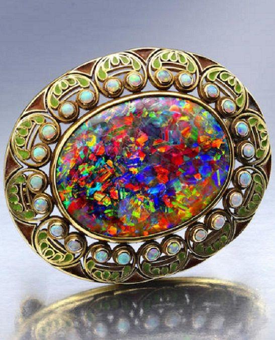 An Arts & Crafts opal and enamel brooch, Louis Comfort Tiffany, Tiffany…