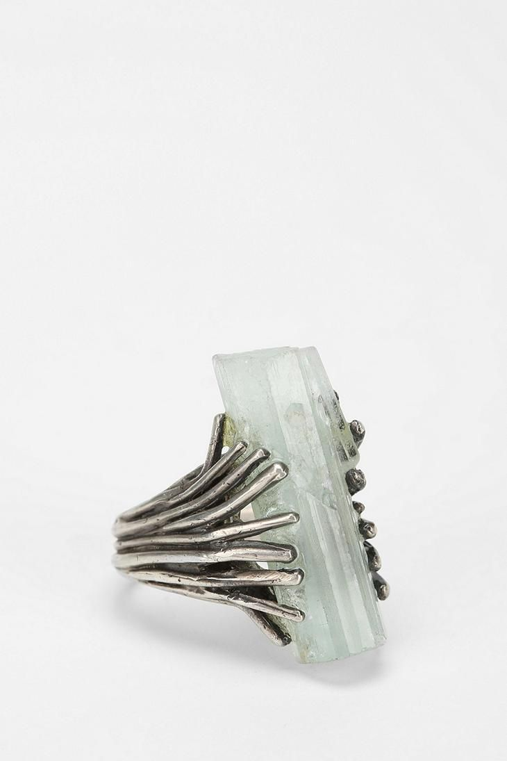 Aquamarine Talon Ring, handmade in Philadelphia by Sarah Lewis