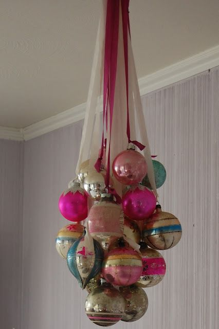 Old Christmas balls hung with ribbons. I have a whole box of my grandparents ornaments