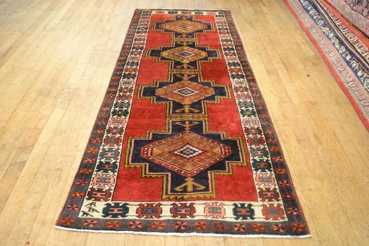TOP QUALITY PERSIAN HAND-KNOTTED CARPET RUG HAMADAN RUNNER SIZE: 303 X 109 CM  #Diamond #TraditionalPersianOriental