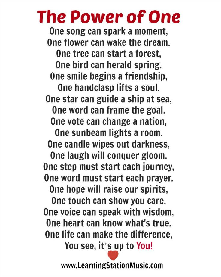 We love this poem because it adds a new value to the number one. Each and every day of our lives we can make a positive difference in the lives of others with just one small act of kindness, caring and love. #quotes #inspirational