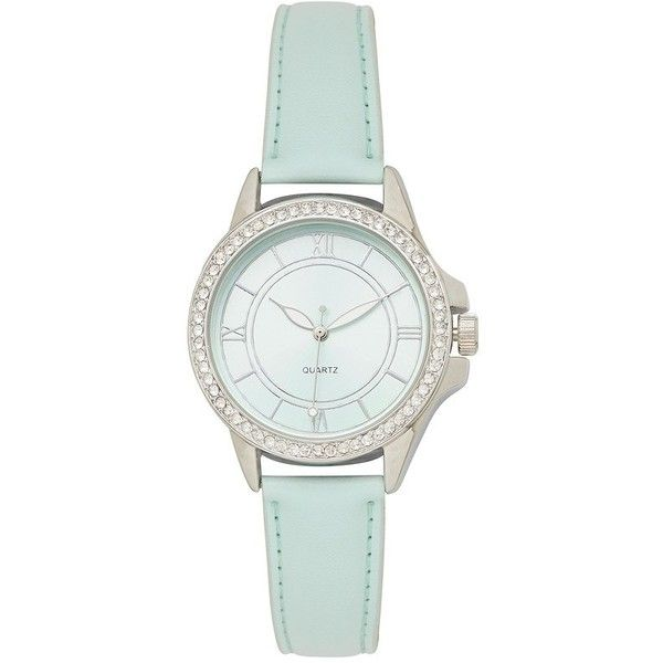 Forever New Aurelie Embellished Watch (290 MXN) ❤ liked on Polyvore featuring jewelry, watches, accessories, bracelets, fillers, mint, mint green watches, mint watches, leather jewelry and forever new
