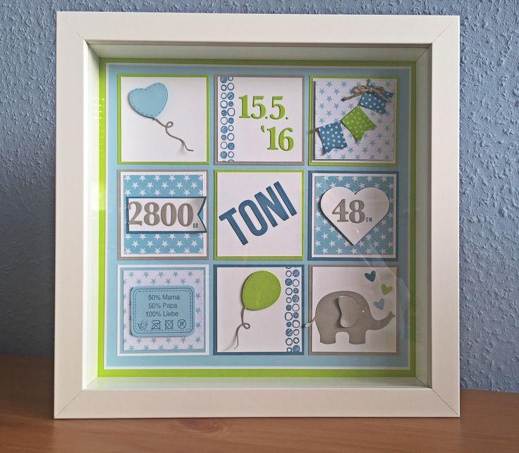 Personalisierter Ribba Rahmen als Geschenk zur Geburt (Ikea, blau, grün, Sterne, Elefant, Rayher, Stampin Up!, mft, JM Creation)