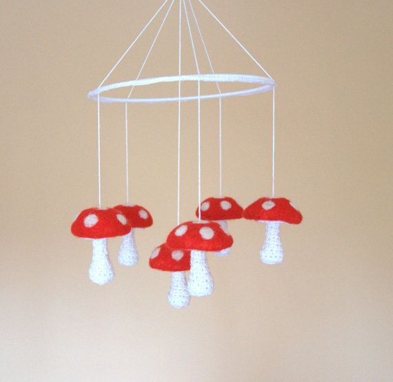Woodland baby mobile 6 red and white Mushrooms by astashtoys