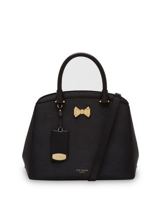 TED BAKER Curved Bow Small Leather Satchel. #tedbaker #bags #polyester #leather #lining #satchel #shoulder bags #hand bags #