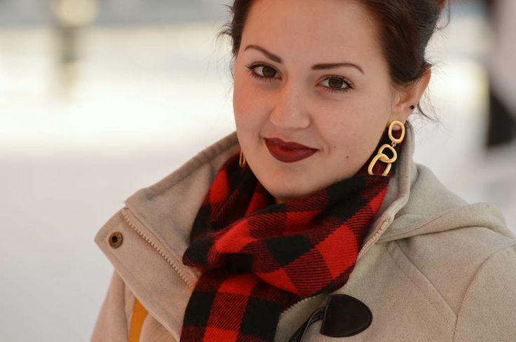 Dark lip, tartan, Kenneth Jay Lane earrings