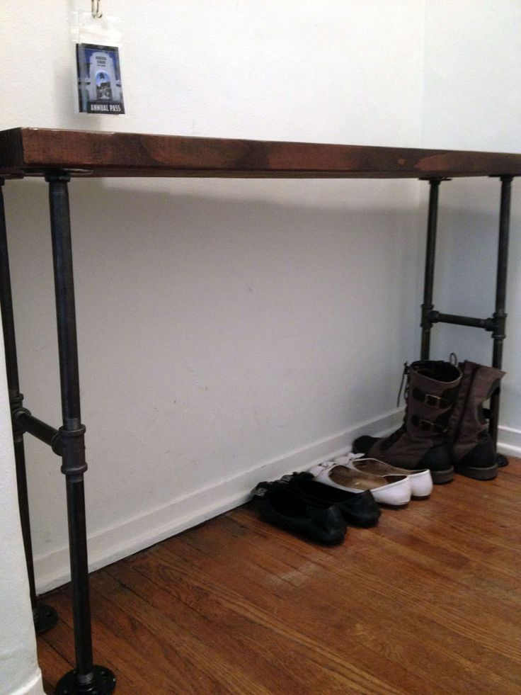 Easy Modern Black Iron Pipe Bench Entryway Table