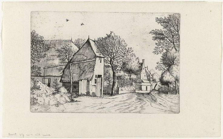 Johannes of Lucas van Doetechum | Landschap met boerderijen en waterpomp, Johannes of Lucas van Doetechum, Meester van de Kleine Landschappen, Philips Galle, 1559 - 1561 | Landschap met aan een weg gelegen boerderijen. Links een waterpomp.