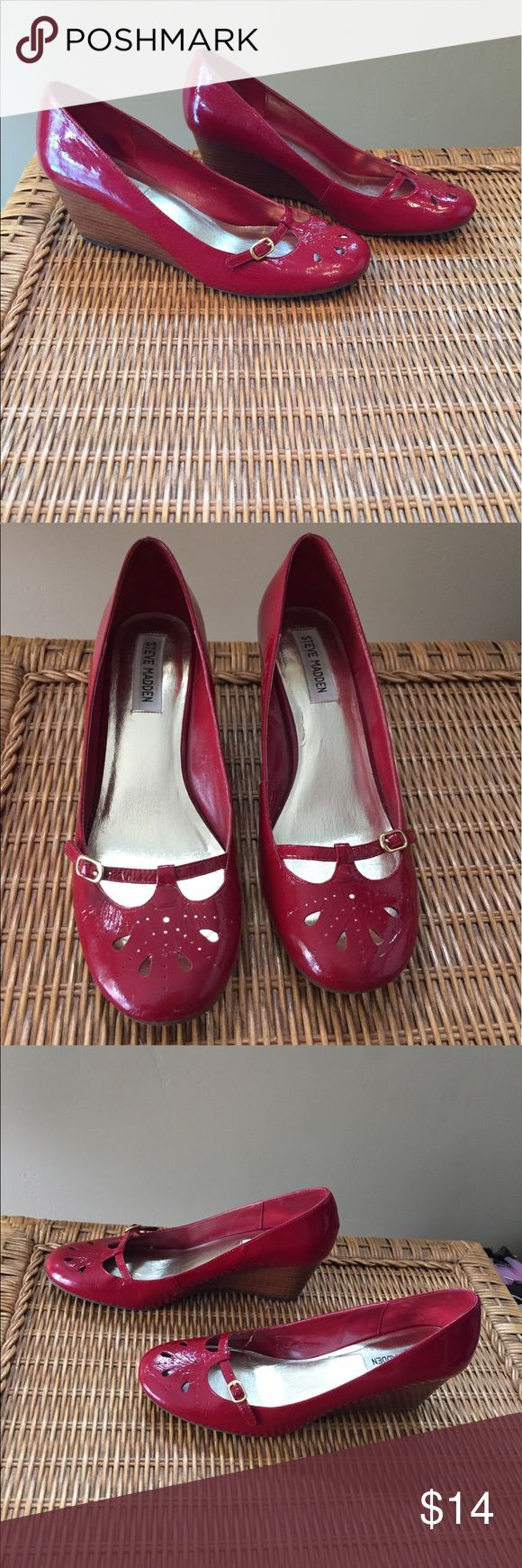"""Steve Madden Red Wedges Shoes """"Parlez"""" (run small) Cute shoes in very good condition. Reviewers on Amazon say these shoes run small, probably fit a size 8 (or borderline 7.5) instead of 8.5. 👗👚👜Check out the $6 section of closet (before sold items). 15% bundle discount on 2+ items. 🚫NO TRADES 🚫NO MODELING🚫 Steve Madden Shoes Wedges"""