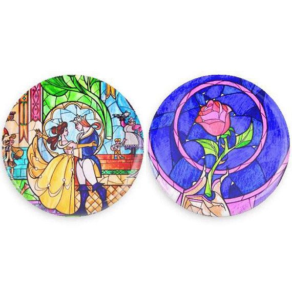 Beauty and The Beast Buttons Set Beauty and the Beast Stain Glass Disney Pins