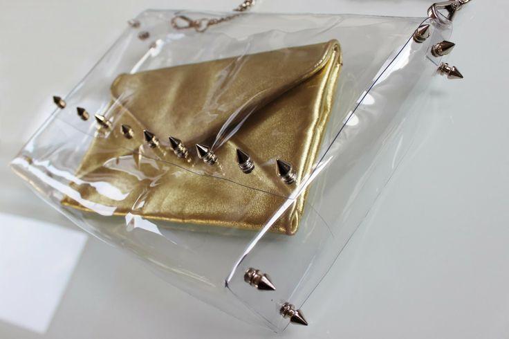 Black Star Style: Una borsa in PVC trasparente con tante borchie e nessuna cucitura: è fai da te!