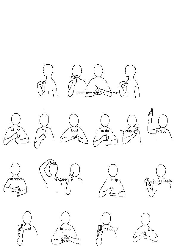 This is a picture of Tactueux Boy Scout Oath in Sign Language Printable