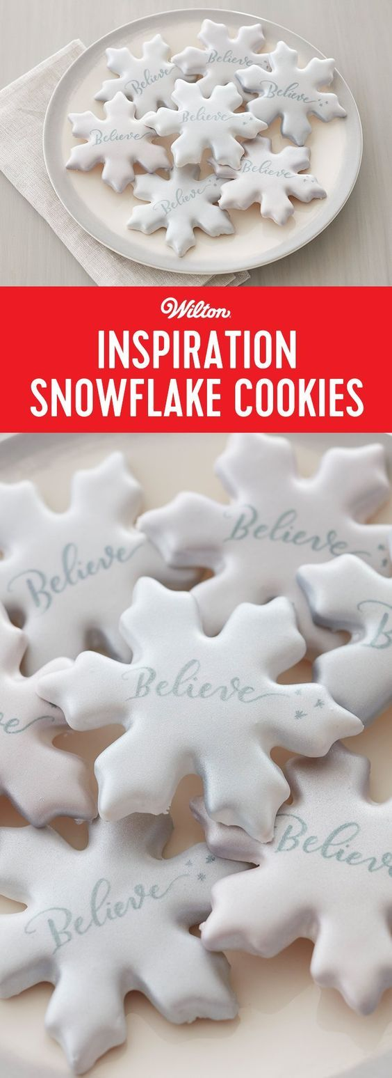 Inspiration Snowflake Cookies - Snow white cookies with an inspirational message reminds us of the magic of the holiday season. Royal icing makes the ideal hard covering for these cookies for writing the messages using FoodWriter Edible Color Markers. These snowflakes get their sparkle from silver Color Mist Food Color Spray. One of these cookies is never enough, so bake up a flurry for family and friends. #christmascookies #cookierecipe #cookies #wiltoncakes #snowflakes