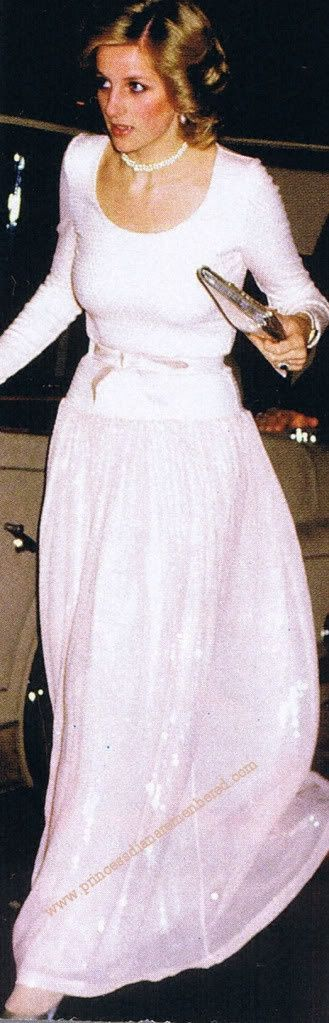 """December 5, 1984: Princess Diana attending """"The Starlight Express"""" Premiere in aid of the Birthright charity at the Apollo Theatre, London."""