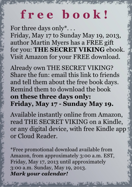 from http://martinmyerswrites.com/category/a-vikings-journal/ Another book promotion? Of course! Already read it? Love it? Share with friends!
